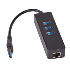 Hub 3x USB 3.0 Akyga AK-AD-32 with network card 10/100/1000 15cm