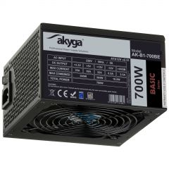 Zasilacz ATX 700W Akyga AK-B1-700BE BLACK EDITION P4+4 PCI-E 6 pin i 6+2 pin 5x SATA PPFC FAN 12cm