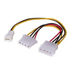 Adapter with cable Akyga AK-CA-35 Molex (m) / 3 pin 12V (m) / Molex (f) 2x 15cm