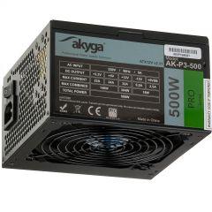 Zasilacz ATX 500W Akyga AK-P3-500 P4+4 2x PCI-E 6+2 pin 5x SATA 2x Molex PPFC FAN 12cm