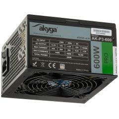 ATX Power Supply 600W Akyga AK-P3-600 P4+4 2x PCI-E 6+2 pin 5x SATA 2x Molex PPFC FAN 12cm