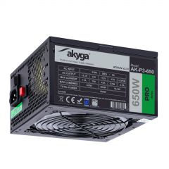 ATX Power Supply 650W Akyga AK-P3-650 P4+4 PCI-E 6 pin 6+2 pin 5x SATA Molex PPFC RGB FAN 12cm used