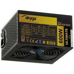 ATX Power Supply 600W Akyga AK-U4-600 P4+4 PCI-E 6 pin 6+2 pin 6x SATA APFC 80+ bronze FAN 12cm