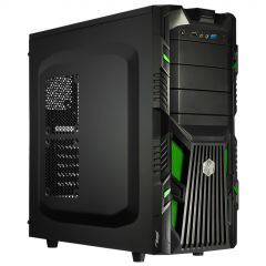 Case Midi ATX Akyga AKY007BG 1x USB 3.0 gamer black / green w/o PSU